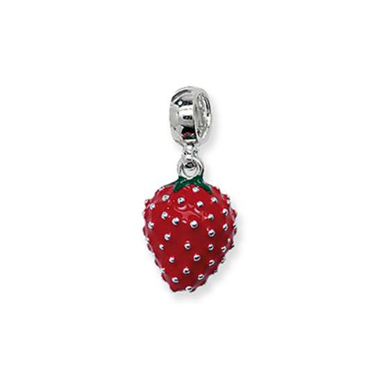 Sterling Silver and Enamel Large Strawberry Bead