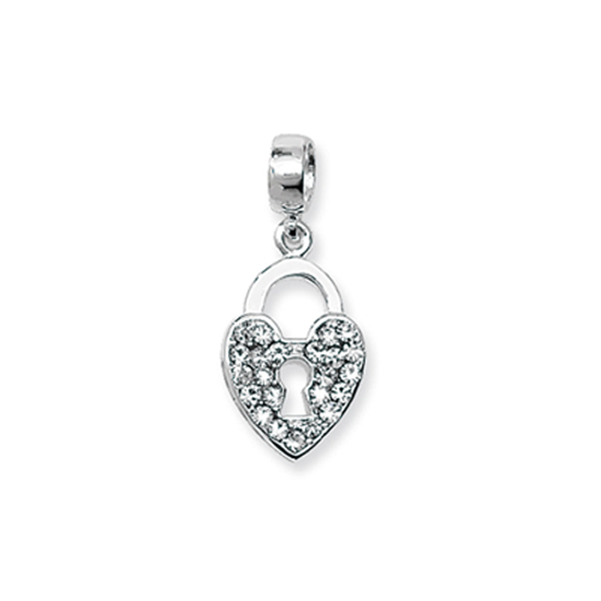 Sterling Silver and Crystal Heart Padlock Bead