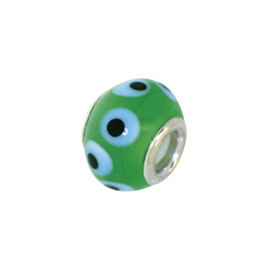 Sterling Silver and Green Spotty Glass Bead