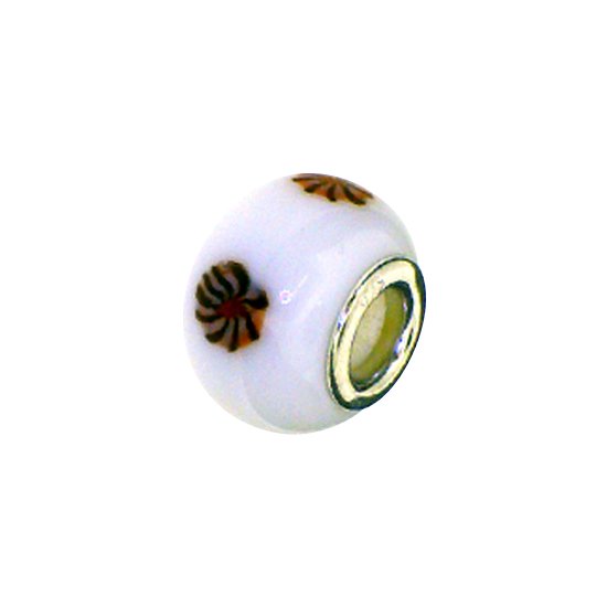 Sterling Silver and White Flowered Glass Bead