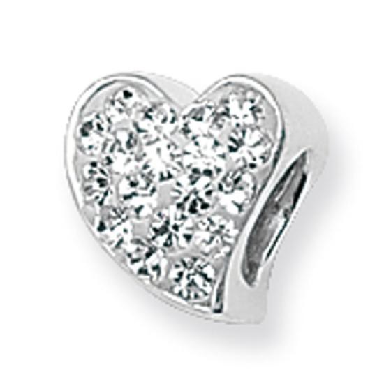 Sterling Silver Crystal Heart Bead