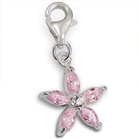 Sterling Silver & Pink Crystal Flower Clip on Charm
