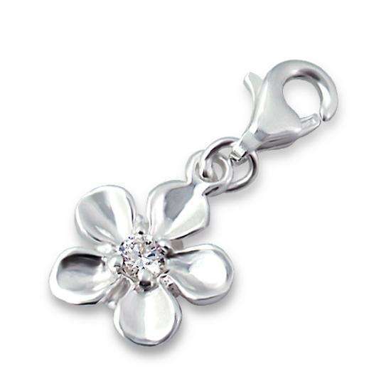 Sterling Silver & Crystal Flower Clip on Charm