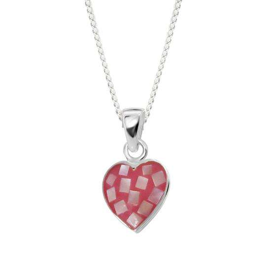 Sterling Silver & Shell Pink Heart Charm Necklace