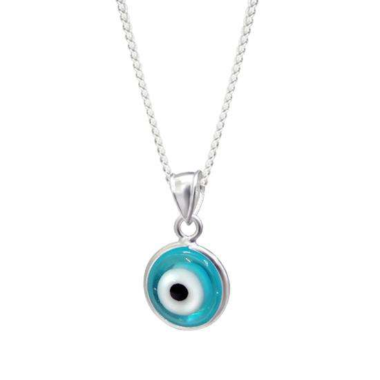 Sterling Silver Evil Eye Charm Necklace