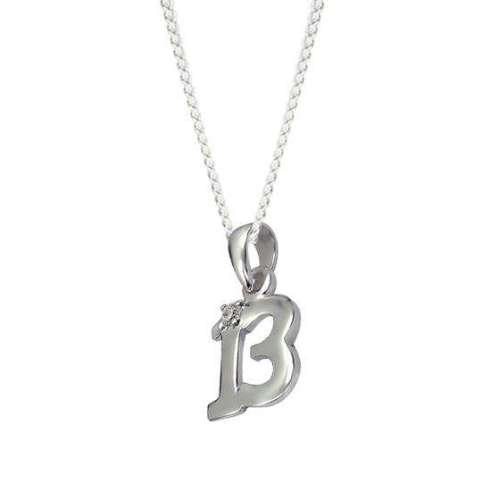 Sterling Silver 13th Crystal Charm Necklace