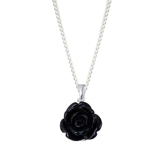 Sterling Silver Rose Charm Necklace