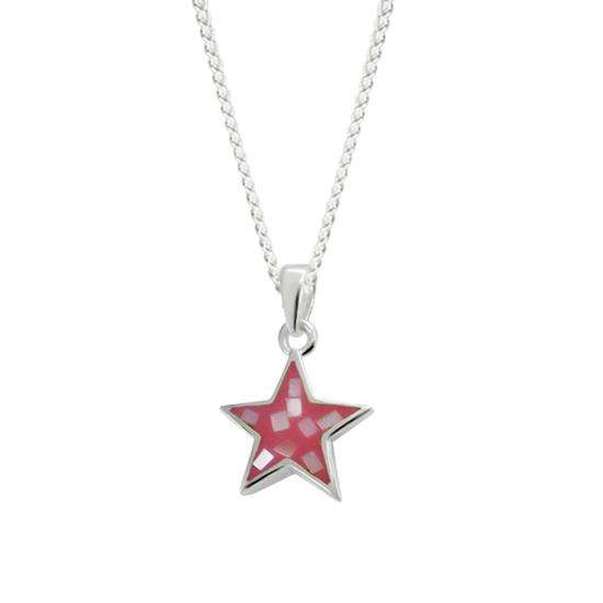 Sterling Silver & Shell Pink Star Charm Necklace