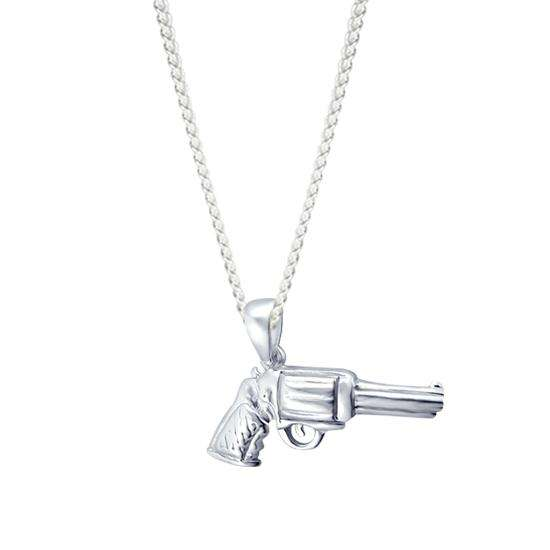 Sterling Silver Gun Charm Necklace