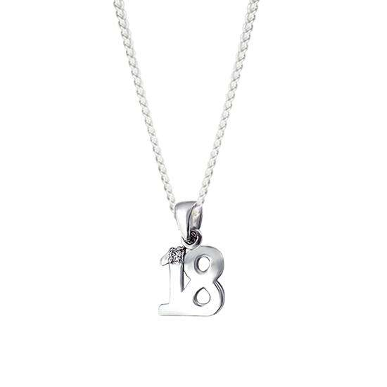 Sterling Silver 18th Crystal Charm Necklace