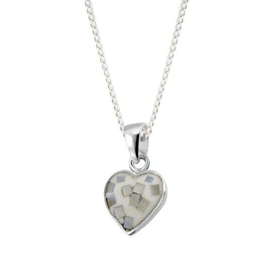 Sterling Silver & Shell White Heart Charm Necklace