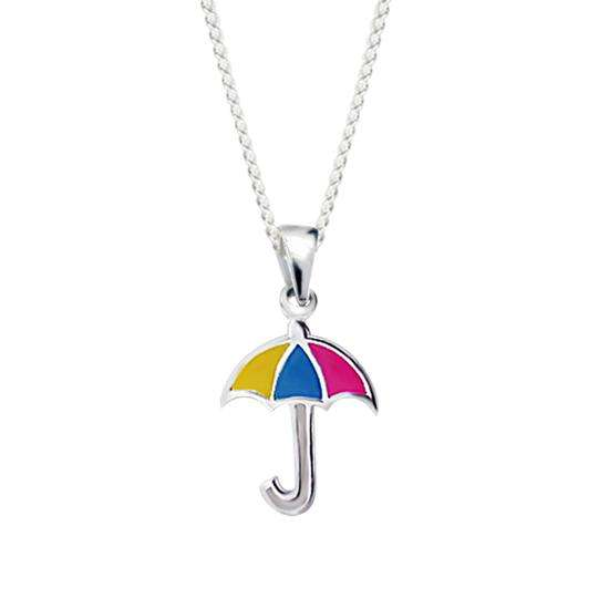 Sterling Silver and Enamel Umbrella Charm Necklace