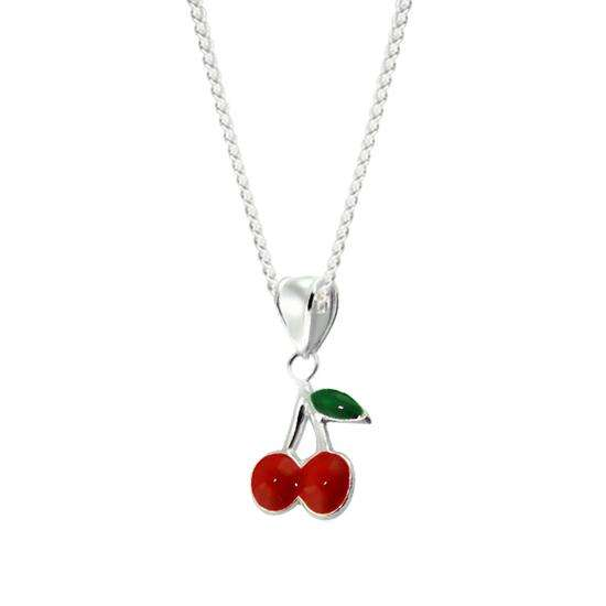 Sterling Silver Cherry Charm Necklace