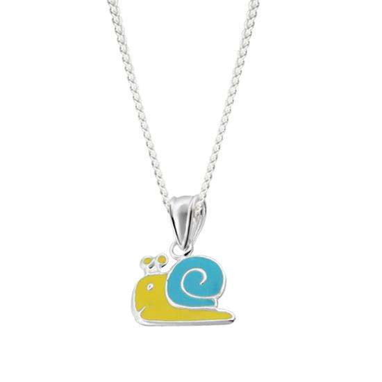 Sterling Silver Enamel Blue Snail Charm Necklace