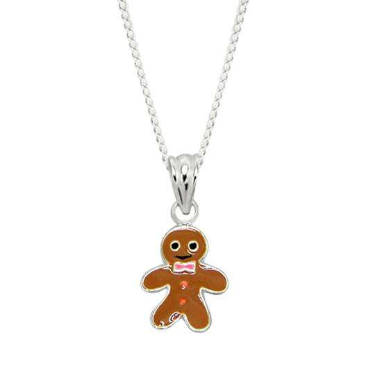 Sterling Silver Gingerbread Man Charm Necklace