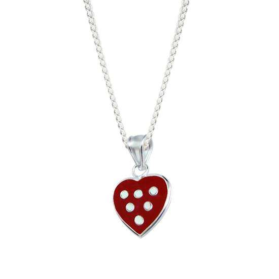 Sterling Silver Spotty Heart Charm Necklace