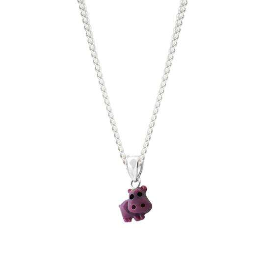 Sterling Silver Purple Hippo Charm Necklace