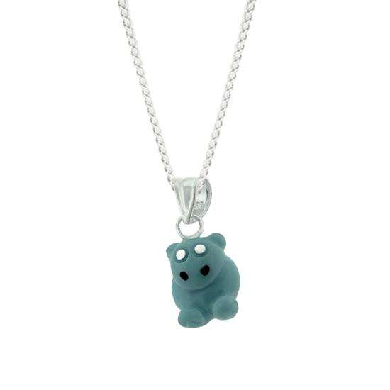 Sterling Silver Grey Hippo Charm Necklace