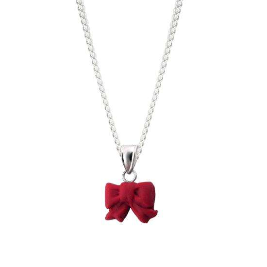 Sterling Silver Ribbon Charm Necklace