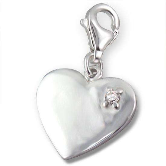 Sterling Silver Heart & Crystal Clip on Charm
