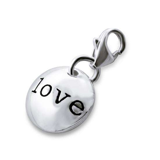 Sterling Silver Round Love Pebble Clip on Charm