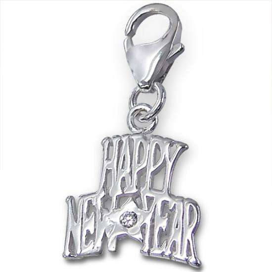 Sterling Silver Happy New Year Clip on Charm