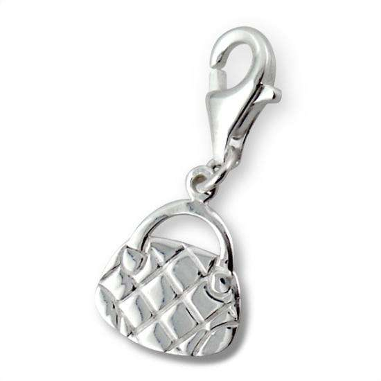 Sterling Silver Fashion Handbag Clip on Charm