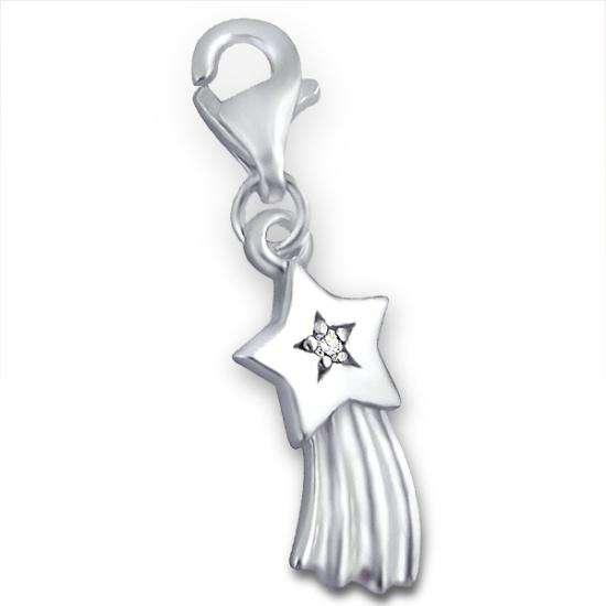 Sterling Silver & Crystal Shooting Star Clip on Charm