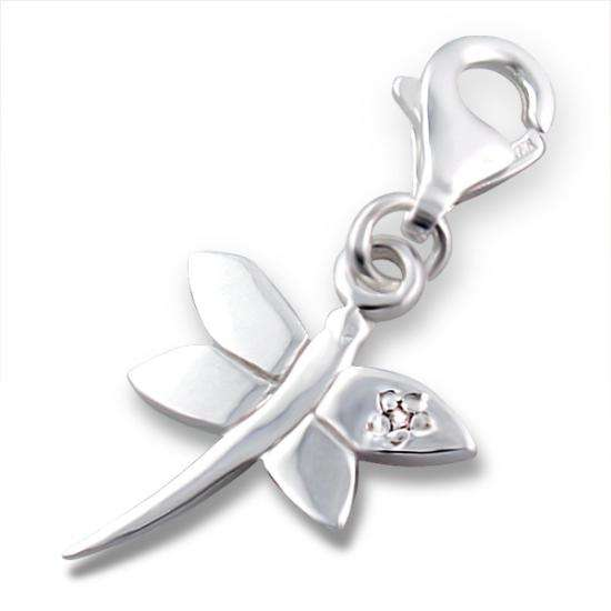 Sterling Silver & Crystal Dragonfly Clip on Charm