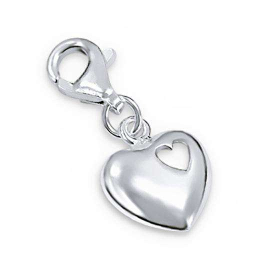 Sterling Silver Heart in Heart Clip on Charm