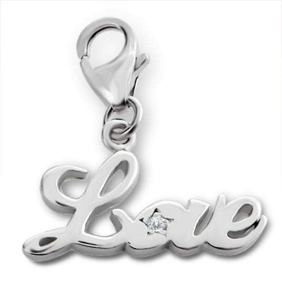 Sterling Silver & Crystal Love Clip on Charm