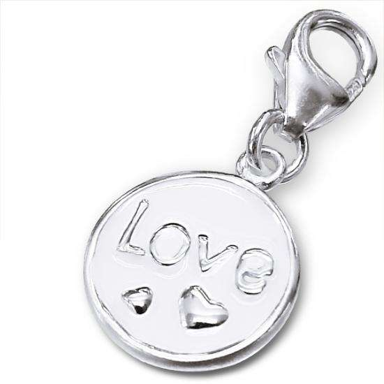 Sterling Silver & Enamel Love Tag Clip on Charm