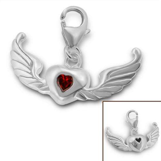 Sterling Silver & Red Crystal Winged Heart Clip on Charm