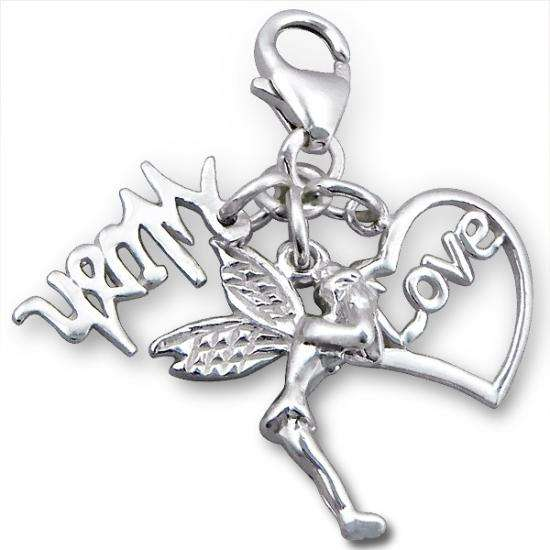 Sterling Silver Love Wish Fairy Clip on Charm