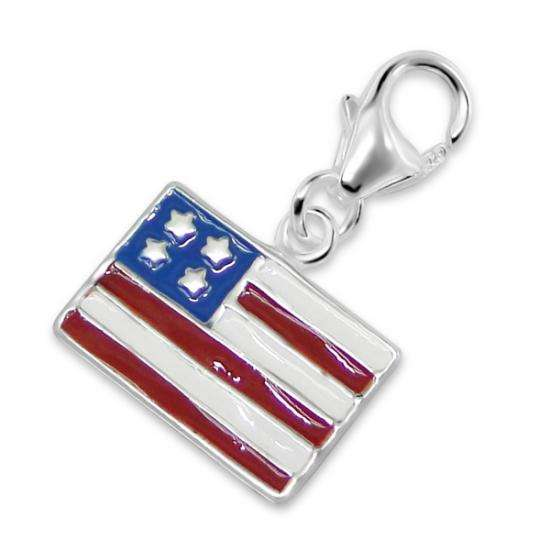 Sterling Silver Enamel US Flag Clip on Charm