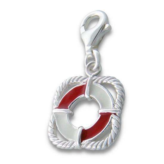 Sterling Silver Enamelled Life Buoy Clip on Charm