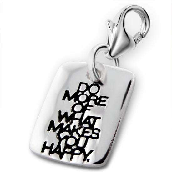 Sterling Silver 'Do More of What Makes You Happy' Clip on Charm