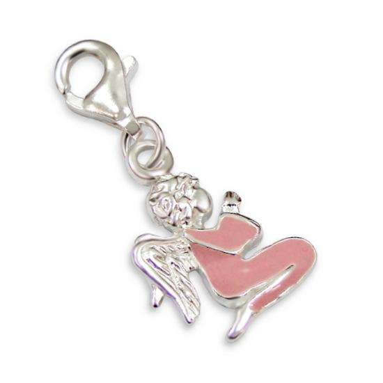Sterling Silver Enamelled Praying Angel Clip on Charm