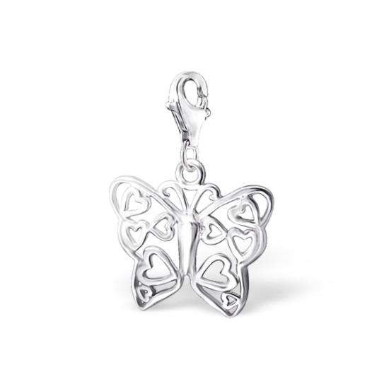 Sterling Silver Hearts Butterfly Clip on Charm
