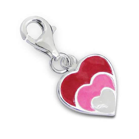 Sterling Silver Enamelled Hearts Clip on Charm