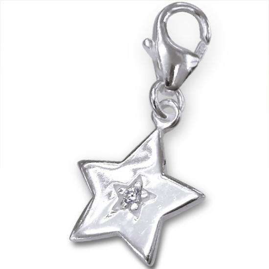 Sterling Silver & Crystal Bright Star Clip on Charm