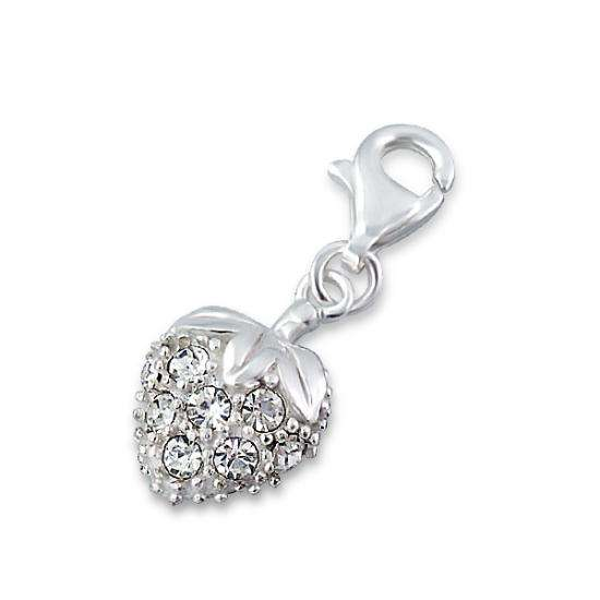 Sterling Silver Crystal Strawberry Clip on Charm