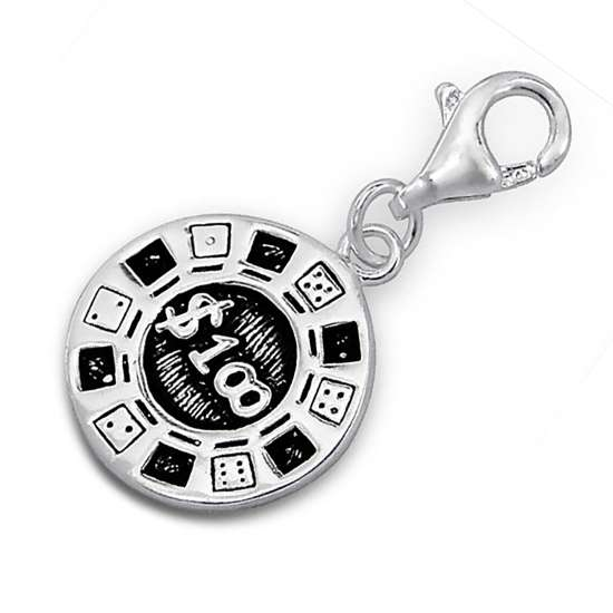 Sterling Silver Casino Chip Clip on Charm