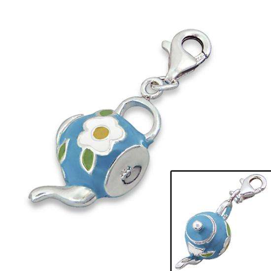 Sterling Silver & Enamel Tea Pot Clip on Charm