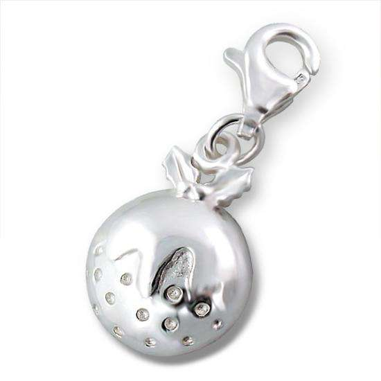 Sterling Silver Christmas Pudding Clip on Charm