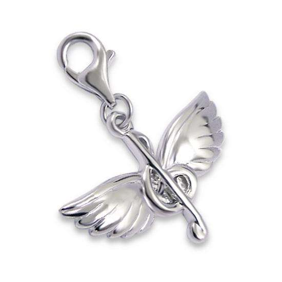 Sterling Silver Clef Wings Clip On Charm