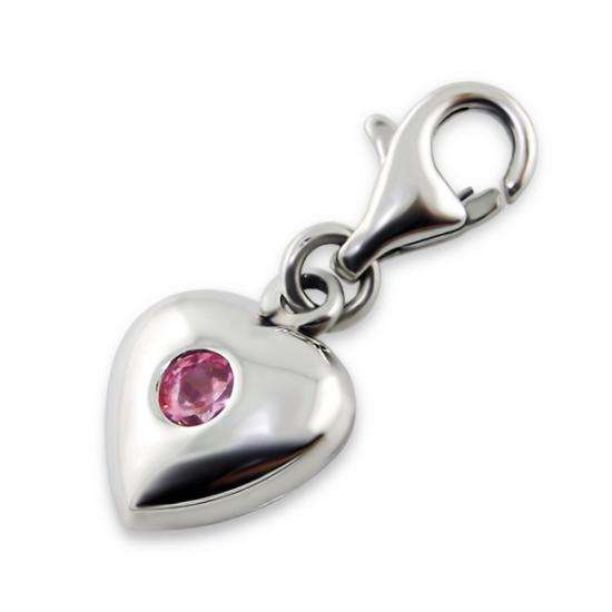 Sterling Silver Heart with Pink Crystal Clip on Charm