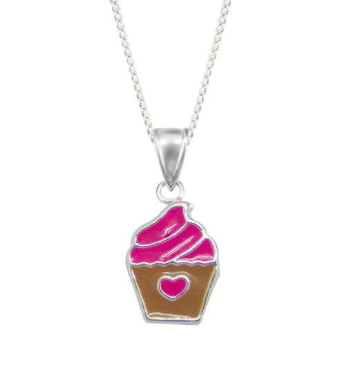 Sterling Silver & Enamel Cupcake Necklace