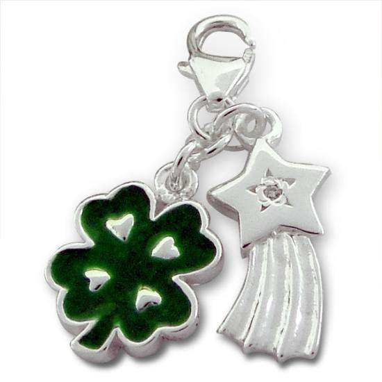 Sterling Silver Shooting Star & Green Enamel Four Leaf Clover Clip on Charm
