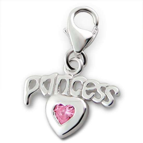Sterling Silver Princess & Pink Crystal Heart Clip on Charm